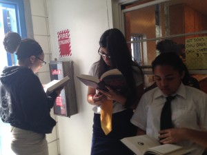 Some of my students inhaling their books.