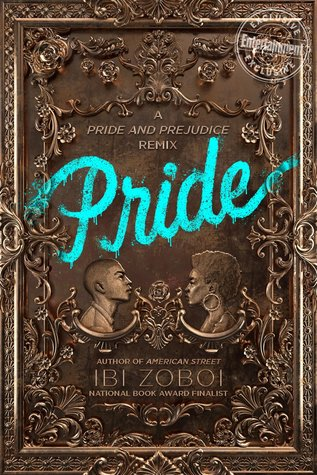 The book cover for Pride. The book seems like it's metallic and has intricate designs. The title seems to be spray painted across with turquoise paint like graffiti. There are silhouettes of a young man and woman facing each other.