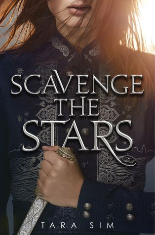The cover of Scavenge the Stars features a young woman in an intricately decorated jacket. She is holding a highly decorated sword in one hand. The closeup only allow for seeing from her lips down to the hand holding the sword at her waist.