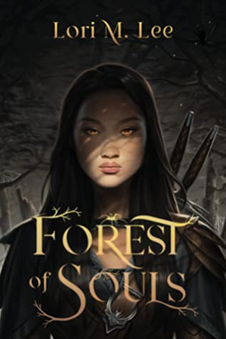 Book cover. Young woman with golden glowing eyes. She has weapons strapped to her back that are visible above her shoulder. Her eyes are in shadow from trees. The sky is dark.
