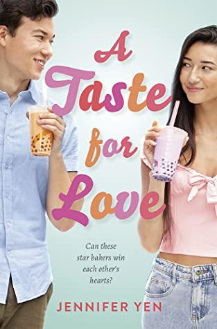 The cover of A Taste for Love has an Asian American young man and woman are each holding a cup of bubble tea and looking at each other with smiles.
