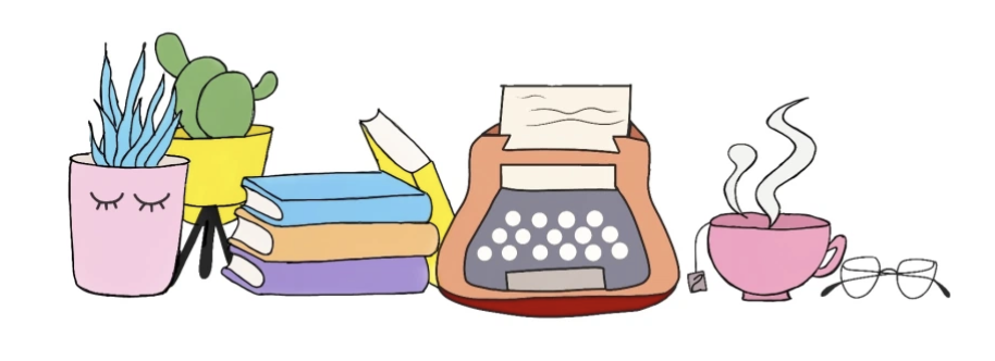 Digital rendering of potted plants, a stack of books, typewriter, steaming cup of tea and glasses.