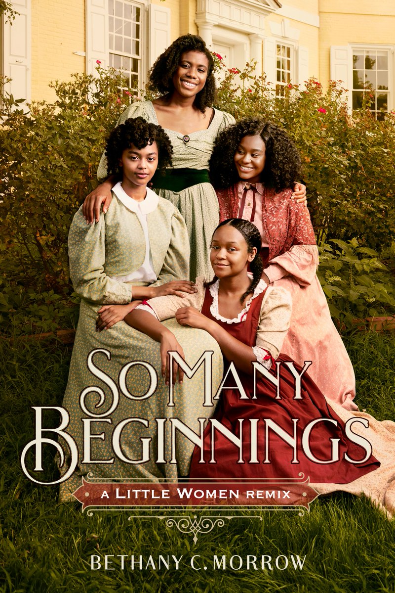 Book cover shows four Black women in dresses. One stands in the back, two are seated in chairs, and one is kneeling on the floor in the front.
