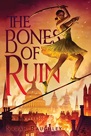 Book cover features the title along with a young Black woman in a dress walking on a tightrope with a sword in each hand. In the background is a city that is on fire