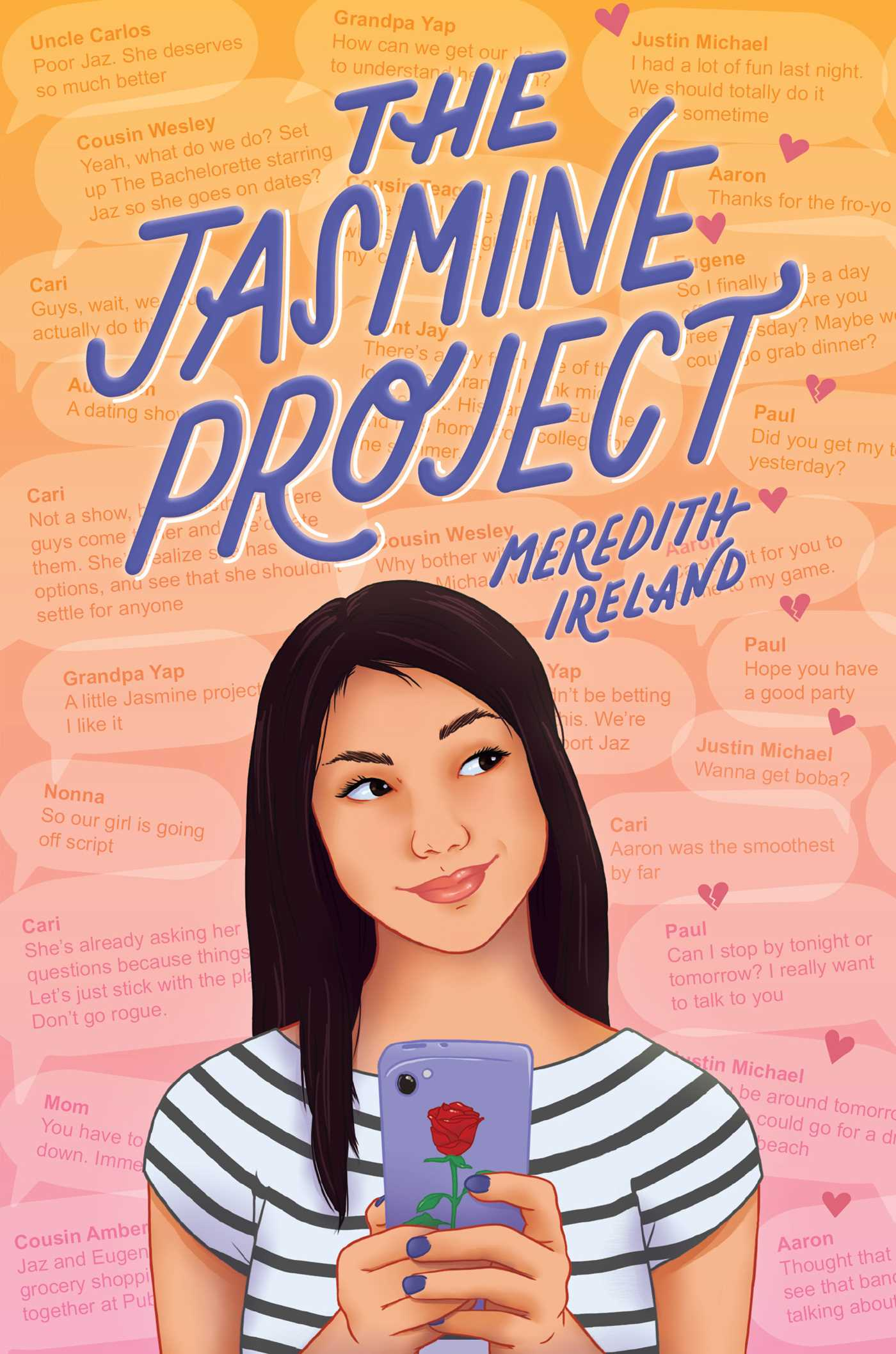 Title of book above a young girl holding cell phone with tilted head and a slight smile