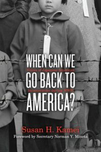 Book cover layered on top of a portion of black and white photo that shows Japanese people behind barbed wire. Only the bottom of one face can be seen. That child is wearing a tag around their neck.