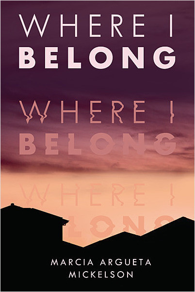 Book cover with title of book at top, then in the middle and again lower down. The title is fainter the lower down it is. There is a sunset in the background and shadows of houses at the bottom