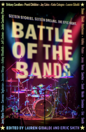 Book cover. Title in lights and an elaborate drum set on a stage.
