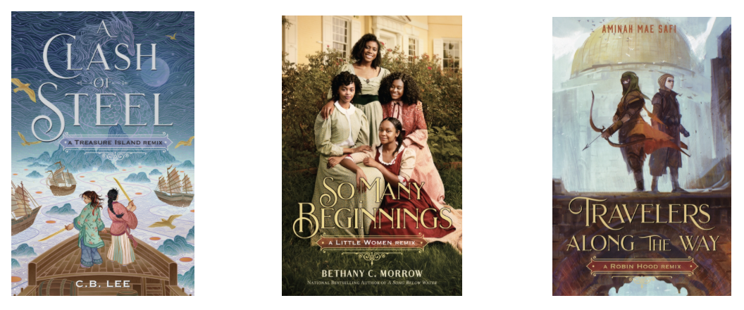 Three book covers. Clash of Steel shows two young women with swords standing at the front of a boat. So Many Beginnings has four young Black women wearing long dress like those from the mid 1800s. They're smiling. Travelers on the way has a domed building and two people standing in front on a bridge who have their heads covered. One is holding a bow and arrow ready.