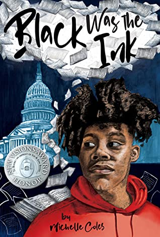 Book cover. Capital building in background. Young Black teen in the front wearing a read hoodie.
