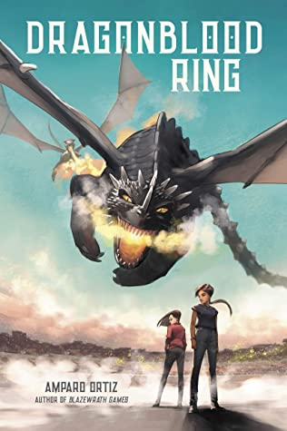 Two young people are standing on the ground and a fire breathing dragon is flying toward them on this book cover.