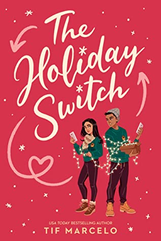 Book cover with two young people holding strings of holiday lights and each has an envelope one of their hands. They are both wearing the same green sweater and their pants also match.
