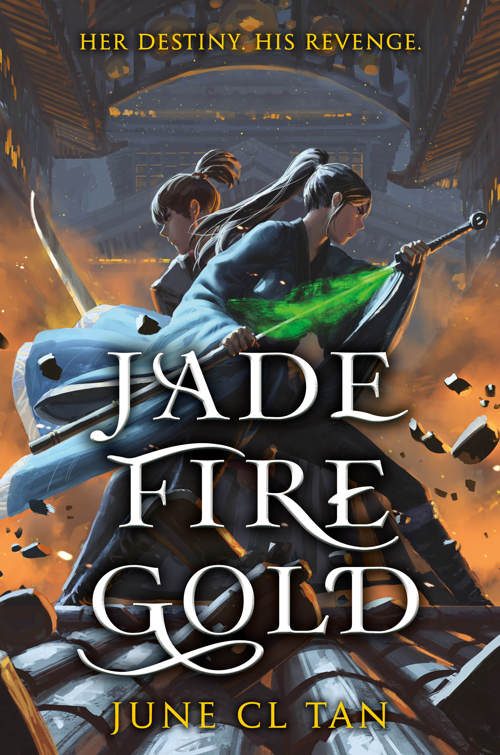 The book cover has two people turning quickly and pulling swords. One is glowing with a green light.