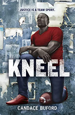 Book cover. A young man is kneeling on one knee with a football by his leg.