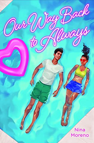 On the book cover there is a young man and young woman floating on their backs in the water. He's in a t-shirt and shorts. She's in what looks like a sports bra and short skirt.