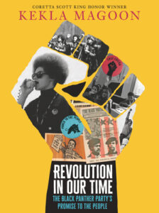 Book cover shows the outline of a raised fist. The fist is filled in with photos and items from the past including a photo of Angela Davis with a microphone.