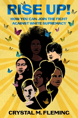 book cover features six different young people from shoulders up and rays of sunshine as the background with butterflies around them