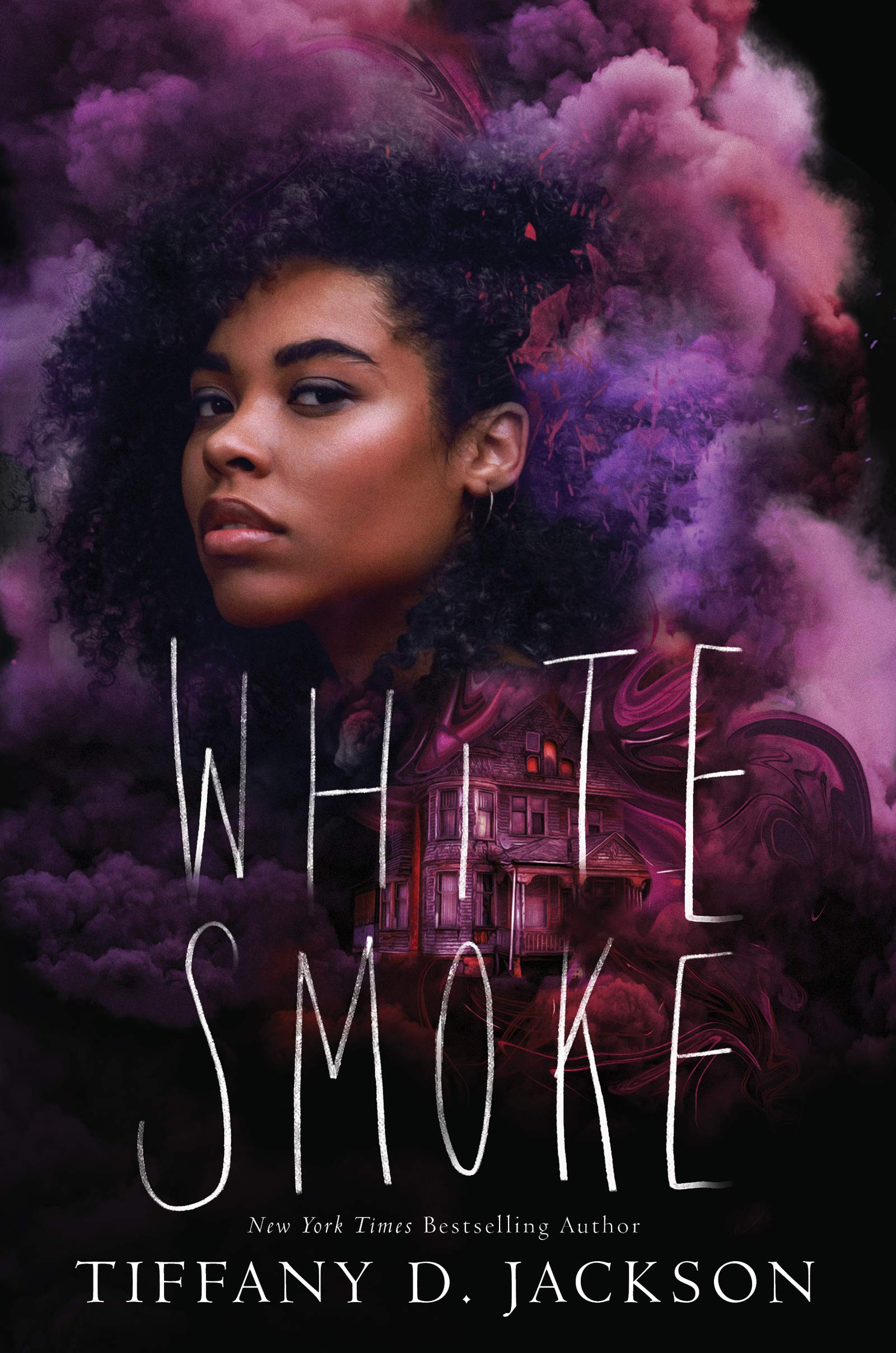 Book cover. Young Black woman staring out from a dark night with smoke around her. There is a large house in the background.