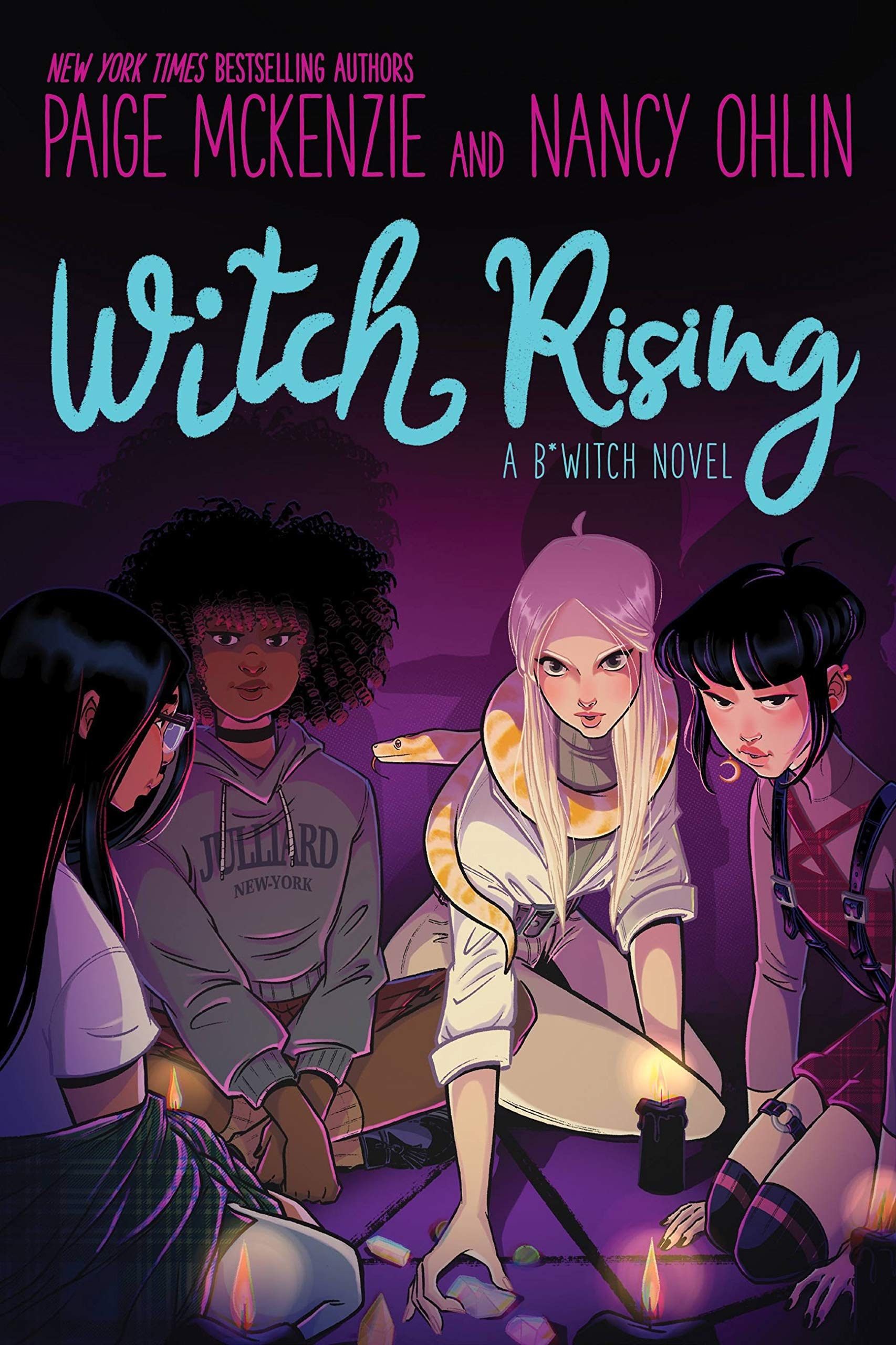 Book cover image with four young women sitting down in the dark with a few candles near them.