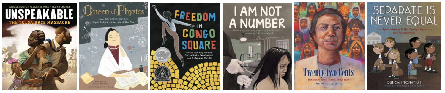 Six book covers of the picture books listed below the image.