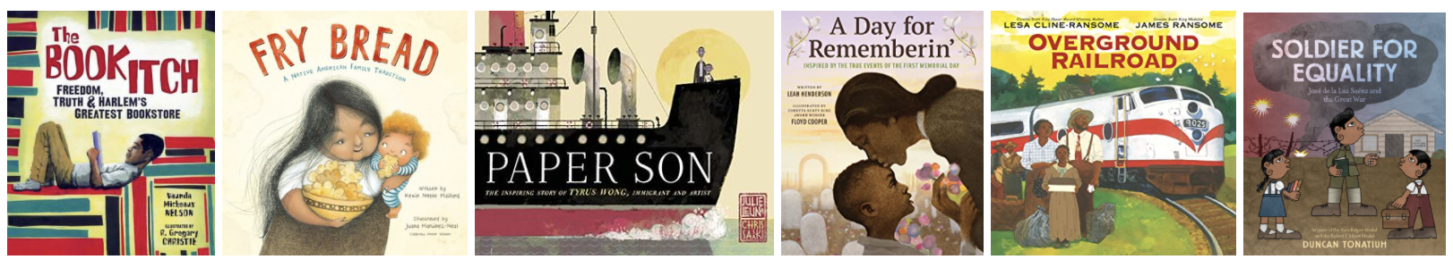 The book covers of the six books listed in the text below the image.