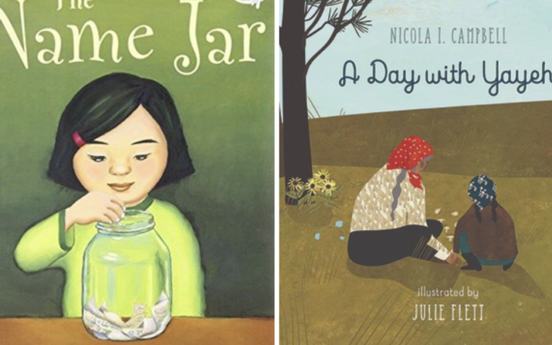 Two picture book covers. The Name Jar and A Day with Yayeh
