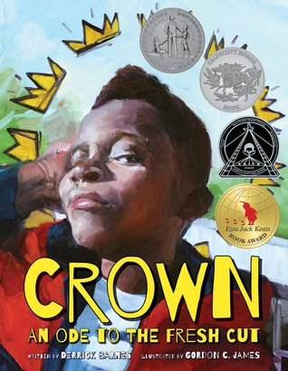 The title is Crown: An Ode to the Fresh Cut. On this book cover a boy is standing with his chin up and has a new haircut. There are a few drawn gold crowns in an arch above him in the style of the artist Basquiat