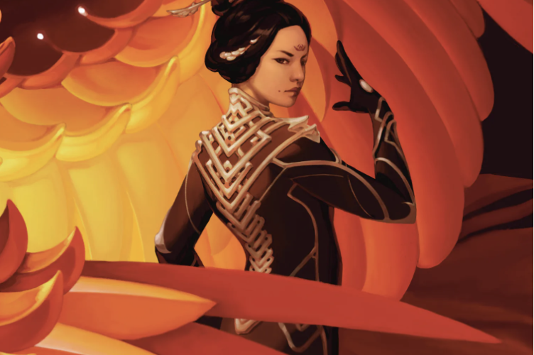 book cover titled iron widow. A woman with dark hair that is pinned up stands looking over her right shoulder. There are what appear to be enormous reddish orange feathers fanning in front of and behind her.