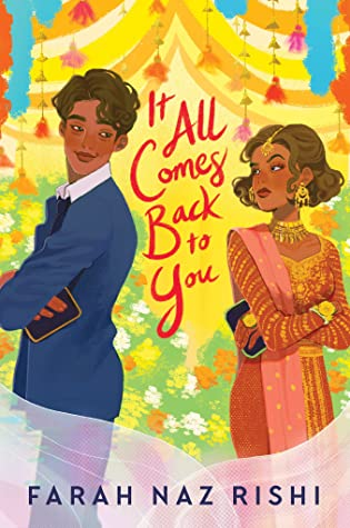 Book cover image. A young woman on the right and young man on the left. They are standing with their backs to each other, but are both looking over their shoulders at each other.