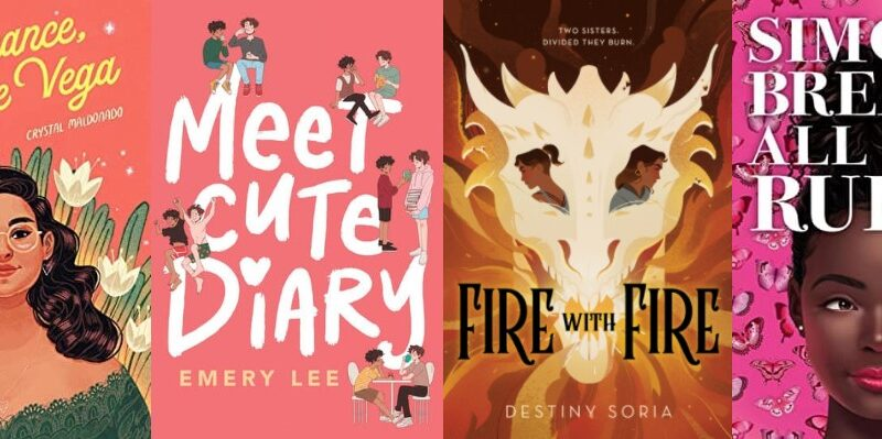 Collage of four book covers: Fat Chance Charlie Vega, Meet Cute Diary, Fire With Fire, and Simone Breaks All The Rules